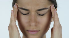 Headache, Close up of Tense Girl, White Background in Studio Stock Footage