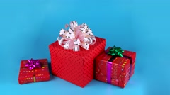 Cute white rabbit opens red gift box, Christmas time, ready for chroma key Stock Footage