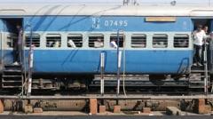 Train arriving at railway station,Gorakhpur,India Stock Footage