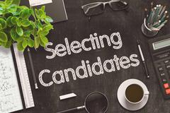 Black Chalkboard with Selecting Candidates. 3D Rendering Stock Illustration