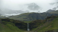 Icelandic scenic mountain waterfall landscape   fantasy land artistic sunrise Stock Footage