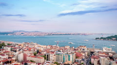 Istanbul. Panoramic view on Bosphorus strait. Camera tilt up Stock Footage