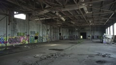 Very Wide Interior of Abandoned Factory Stock Footage