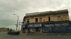 Blighted Building off Gratiot Stock Footage