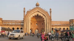 Rumi Darwaza gate with traffic,Lucknow,India Stock Footage