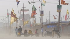 Pilgrims at Sangam in sand storm,Allahabad,Kumbh Mela,India Stock Footage