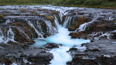 Scenic multistage glacial waterfall Bruarfoss Iceland summer Stock Footage