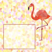 Template with polygonal flamingo. Stock Illustration
