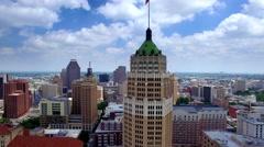 Aerial view of San Antonio skyline 4 Stock Footage
