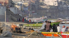 Cremation at the Ganges,Varanasi,India Stock Footage