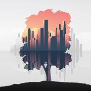 Tree and urban business skyline double exposure vector illustration background Stock Illustration