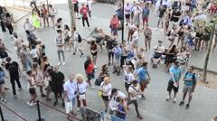 People walk in Passeig De Gracia - Barcelona Stock Footage