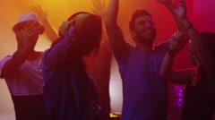 People Dancing, Having Fun and Raising Hands in Nightclub. Stock Footage