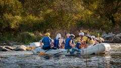 Rafting in Ukraine. Fun, risky, bold action. Stock Photos