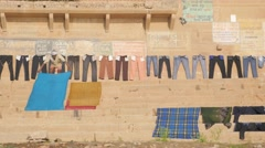 Clothes drying on the gahts,Varanasi,India Stock Footage