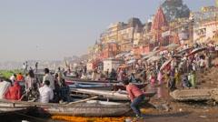 Early morning ghats at Ganges,Varanasi,India Stock Footage