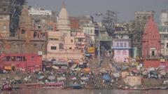 Main bathing ghat with pilgrims,Varanasi,India Stock Footage