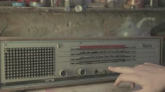 Testing old broken radio - Flat picture Stock Footage