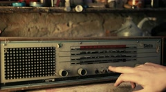 Testing old broken radio - Graded picture Stock Footage