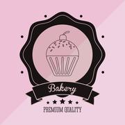 Muffin bakery related emblem image Stock Illustration