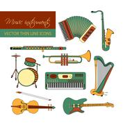 Vector color thin line icons with different music instruments Stock Illustration