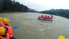 GORNO-ALTAYSK, RUSSIA: people rafting on a mountain river Stock Footage