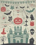 Vector Hand Sketched Doodle Halloween Icons on Crumple Paper Stock Illustration