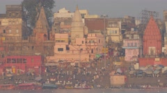 Main ghat with pilgrims in early morning,Varanasi,India Stock Footage