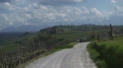 Two people walk in vineyards Stock Footage