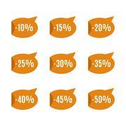 Set of discount labels, vector illustration. Stock Illustration