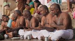 Men at hindu ceremony,Varanasi,India Stock Footage