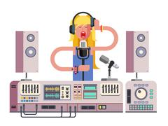 Girl singing in sound recording studio Stock Illustration