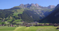 Aerial Shot of Engelberg in Switzerland in the alps, 4K UHD Stock Footage