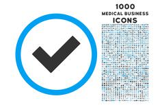Accept Rounded Icon with 1000 Bonus Icons Stock Illustration
