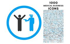 Police Arrest Rounded Icon with 1000 Bonus Icons Stock Illustration