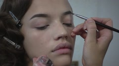 Perfect make up for young beautiful sexy girl model Stock Footage