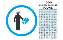 Postman Rounded Icon with 1000 Bonus Icons Stock Illustration