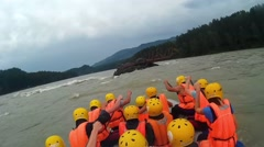 GORNO-ALTAYSK, RUSSIA : people rafting on a mountain river Stock Footage