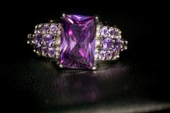 Silver Ring with Amethyst Stock Photos