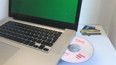 Computer Virus In Dvd And Stolen Credit Cards, Green Screen Dolly Shot Stock Footage