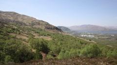 Fort William Scotland UK from Ben Nevis Scottish Highlands in summer pan Stock Footage