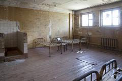 Interior of an old abandoned prison Stock Photos