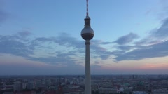 Famous Television Tower in Berlin in the evening with great sky Stock Footage