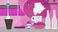 Botswana - Vector Menu - Restaurant - Food and Drinks - pink Stock Footage