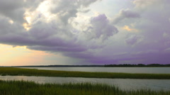 Storm rolling in over Beaufort, South Carolina Stock Footage