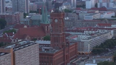 Red Town Hall of Berlin - aerial view Stock Footage