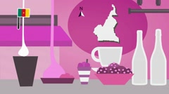 Cameroon - Vector Menu - Restaurant - Food and Drinks - pink Stock Footage