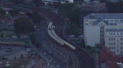 Trains on bending railway tracks in the city of Berlin Stock Footage