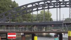 Railway Bridges over River Spree in Berlin Stock Footage