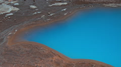 Strokkur Geyser and the blue thermal lake in Iceland Stock Footage